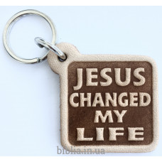 "Брелок кожаный ""JESUS changed my LIFE"" (BR 222)"