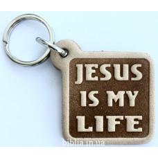 """Брелок кожаный """"Jesus is my Life"""" (BR 225)"""